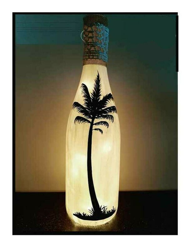 Handpainted Palm Tree Bottle Lamp