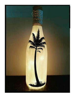 Handpainted Plam Tree Bottle Lamp