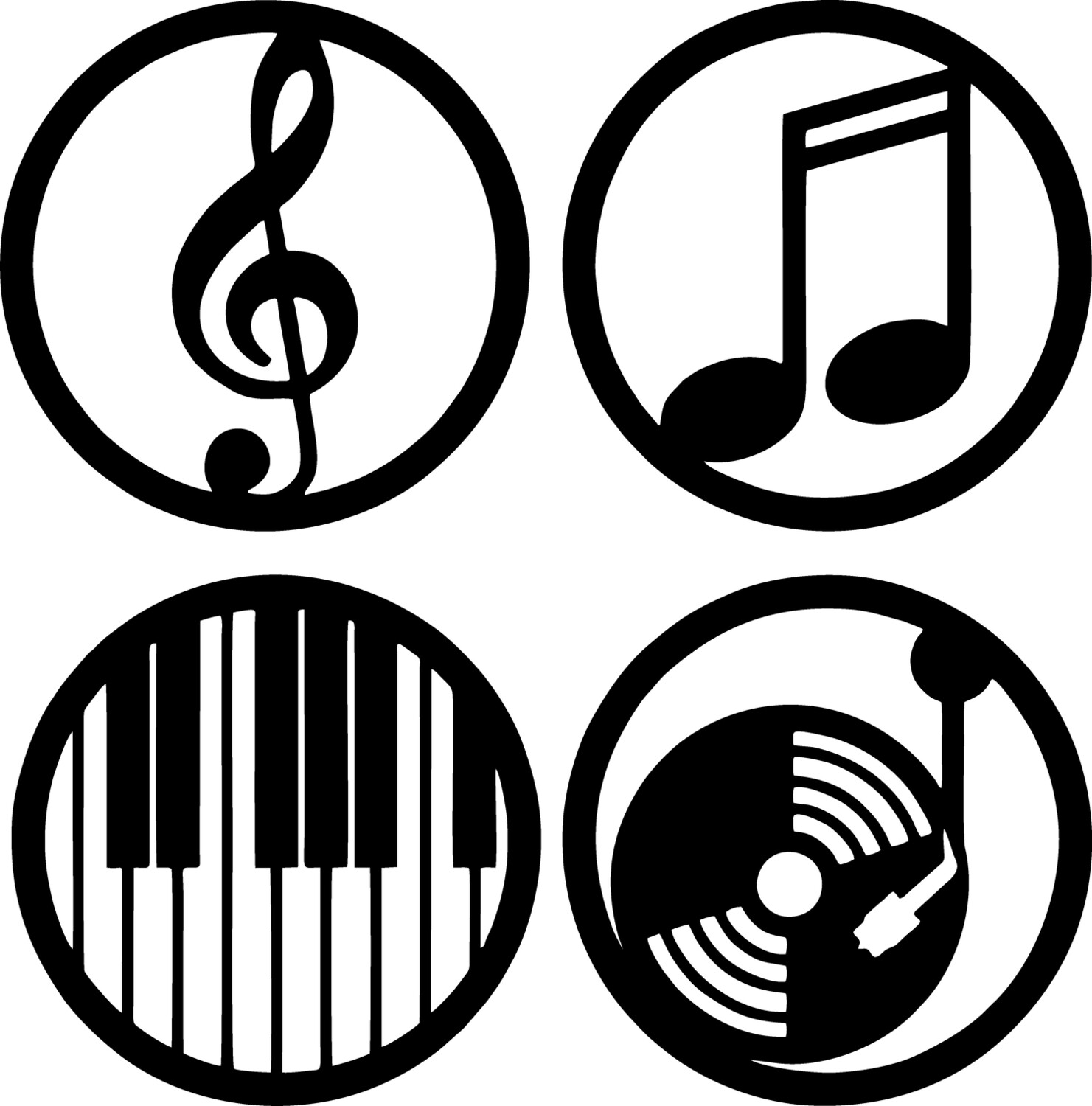 Symbols of Music in Black Color Design Wooden Wall Hanging (Pack of 4)