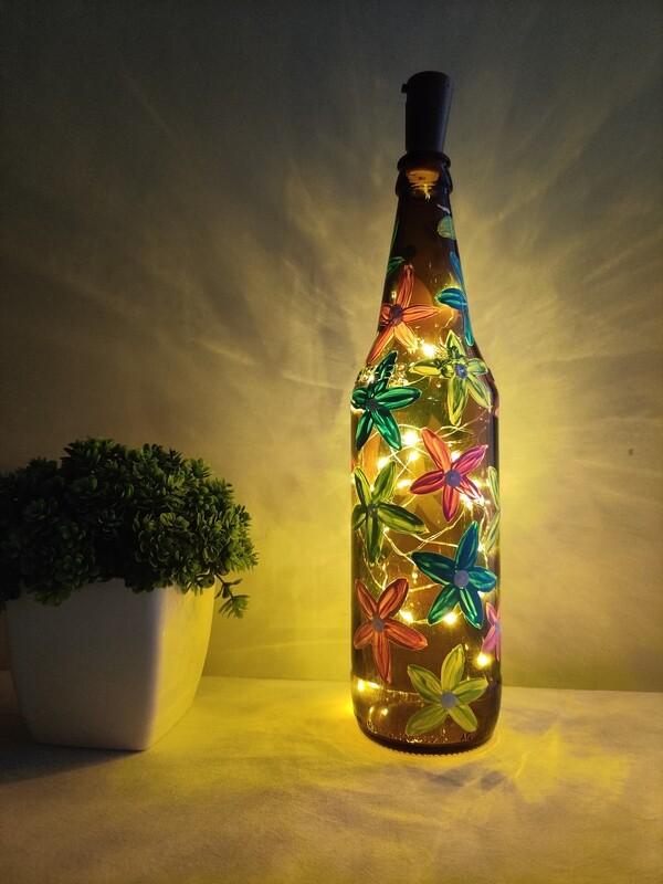 Handpainted Flower Bottle Lamp