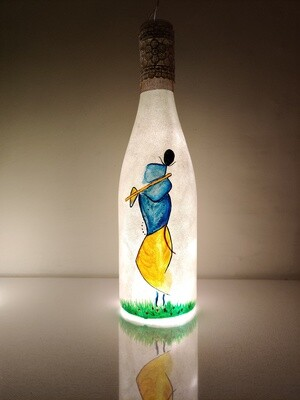 Handpainted Lord Krishna Bottle