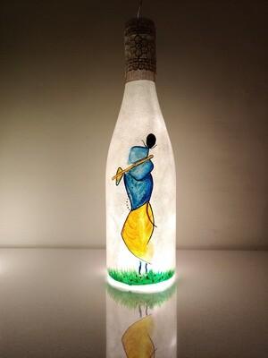Handpainted Lord Krishna Bottle