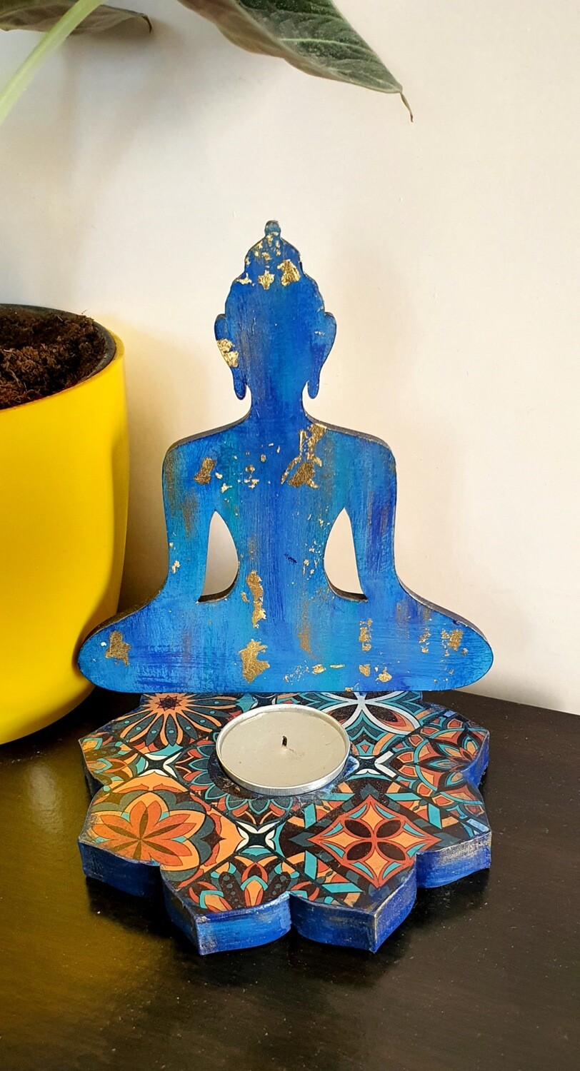 Buddha Floral Blue Tealight Candle Holder