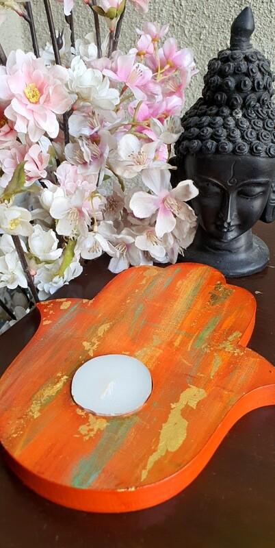 Hamsa Gold leaf Tealight Candle Holder