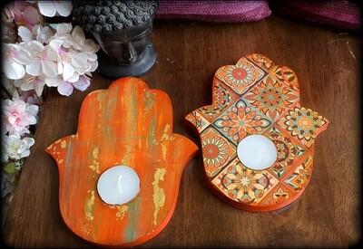 Humsa Tealight Candle Holder Pair