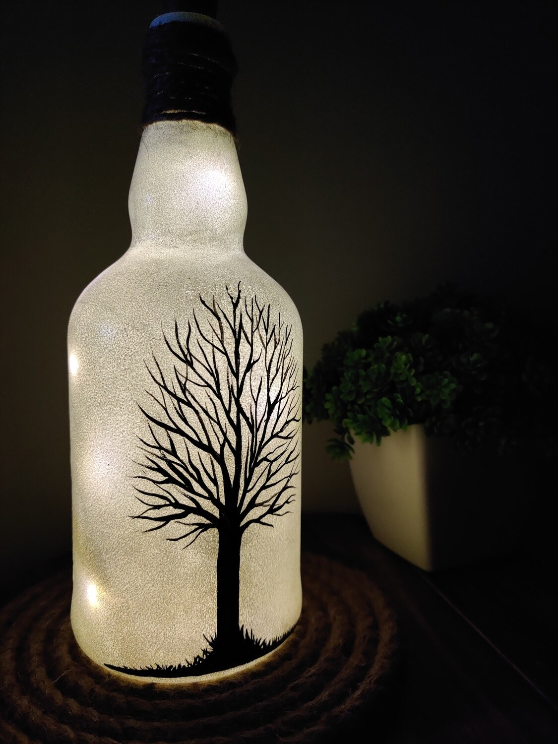 Handcrafted Black Tree Bottle Lamp - Small