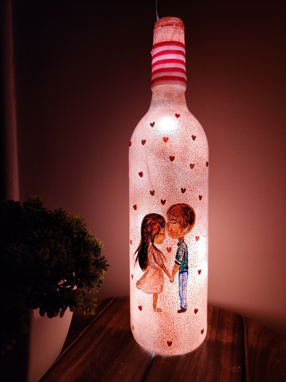 Sweet Couple Bottle Lamp