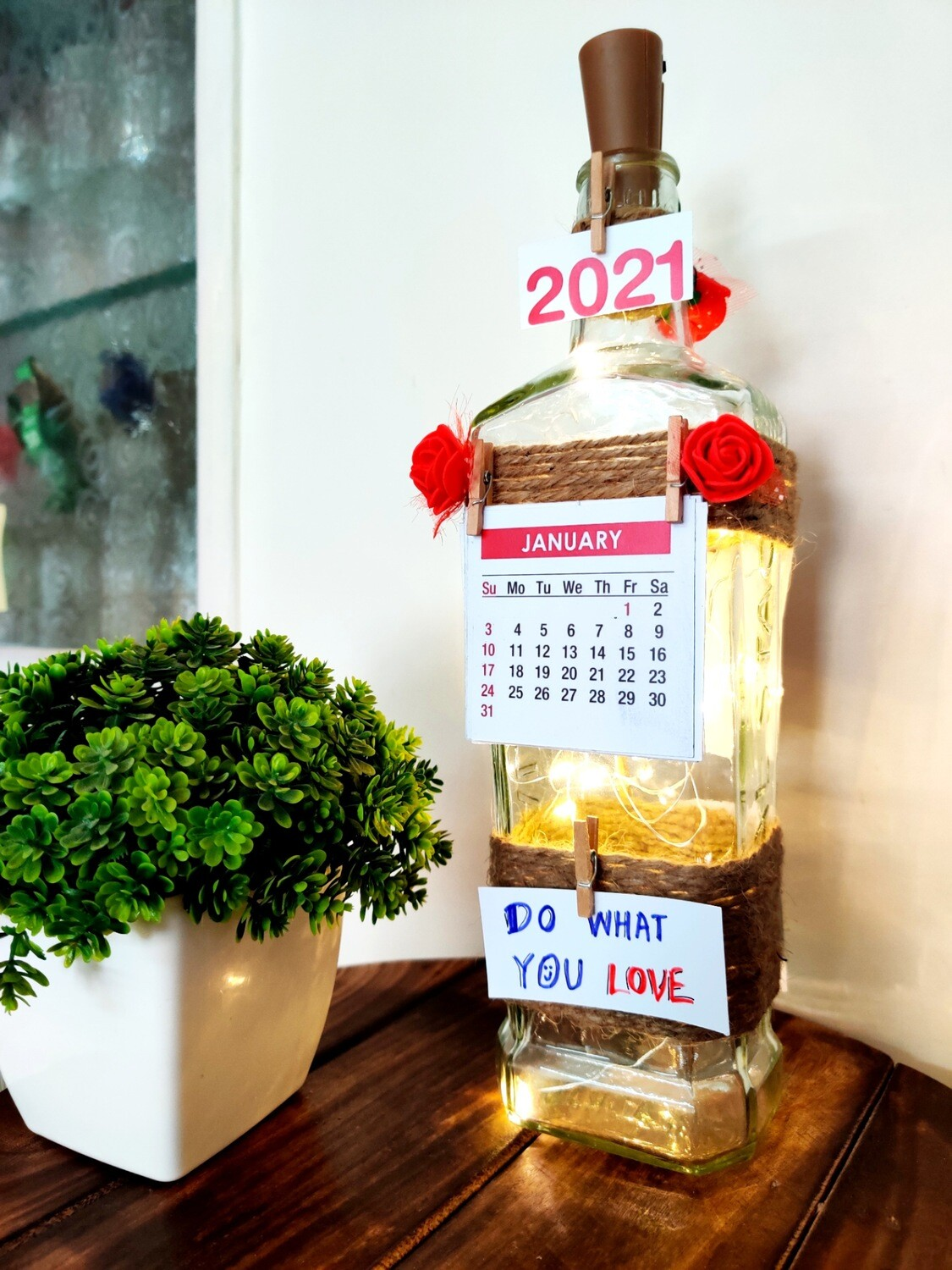 Handmade Calendar Bottle Lamp