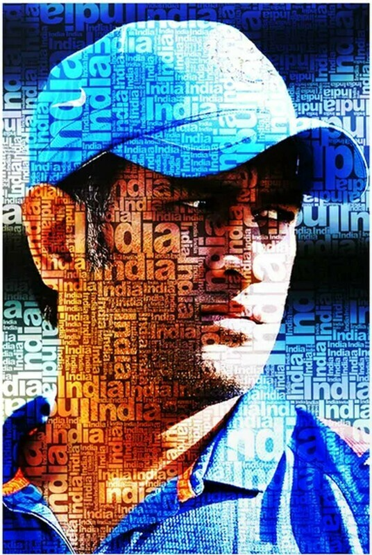 MS Dhoni Typography Art Print