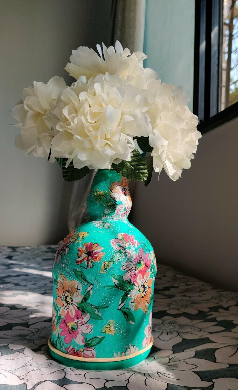 Teal Dream Bottle Vase