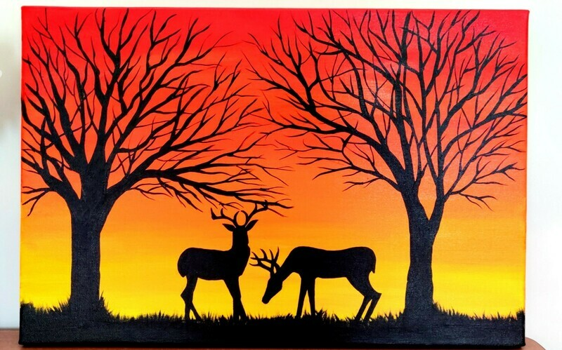Handpainted Sunset Deer Canvas