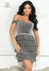 Silver tiered skirt short dress