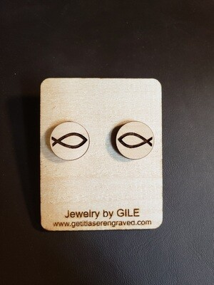 Earrings, Wood, Christian Fish Symbol