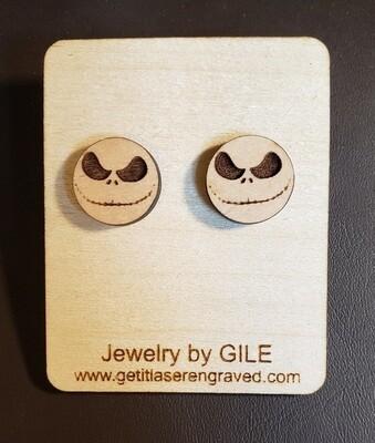 Earrings, Wood, Nightmare Before Christmas, Jack