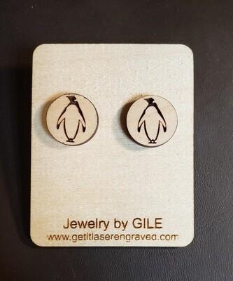 Earrings, Wood, Penguin Symbol