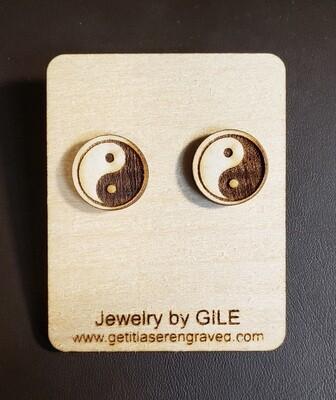 Earrings, Wood, Yin Yang Symbol