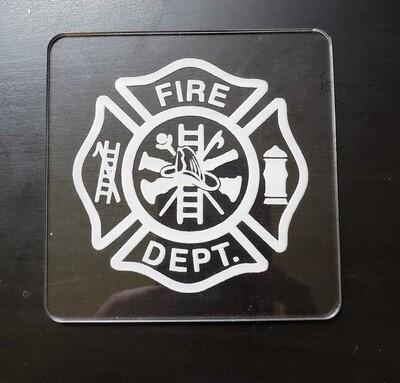 Fireman's Symbol, Maltese Cross, Acrylic Coaster