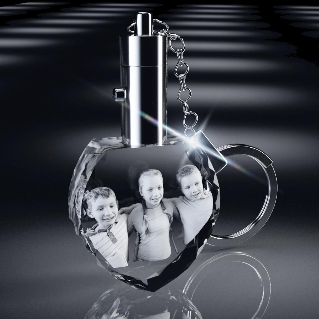3D Crystal Heart Shape Key Chain