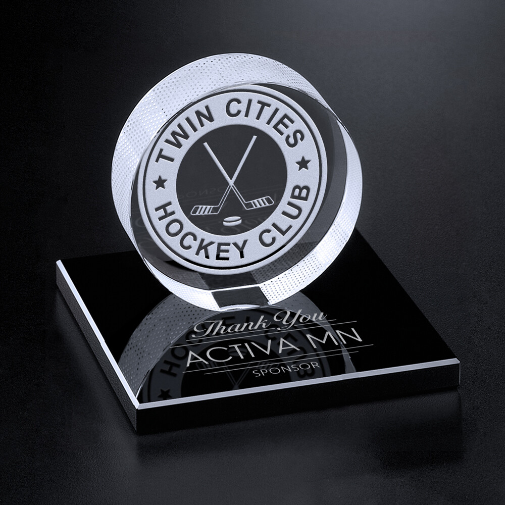 Crystal Hockey Puck with Base