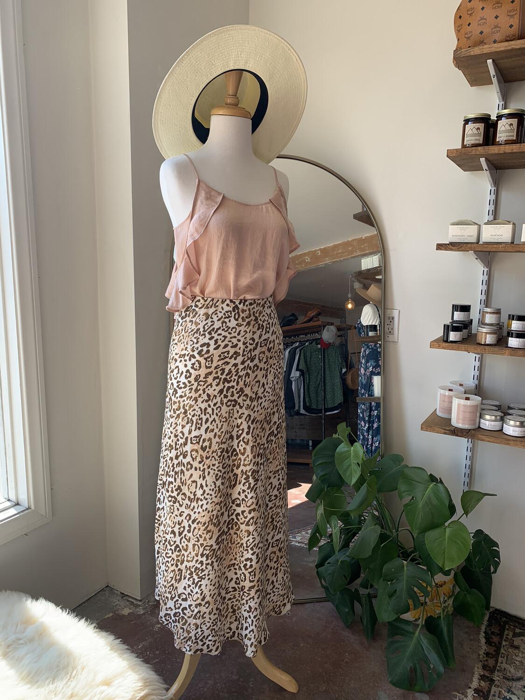Women Current Air Sm Maxi Skirt Leopard Satin