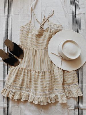 Women Llove Lg Dress Yellow White Stripe