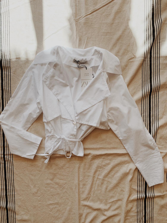 Women Zara XS LS NWT White Collar Tie Waist