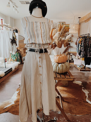 Women Zara XS Maxi Skirt Neutral Wood Button Front