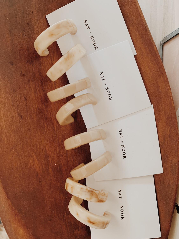 Earrings Nat + Noor Thick Cream Hoops