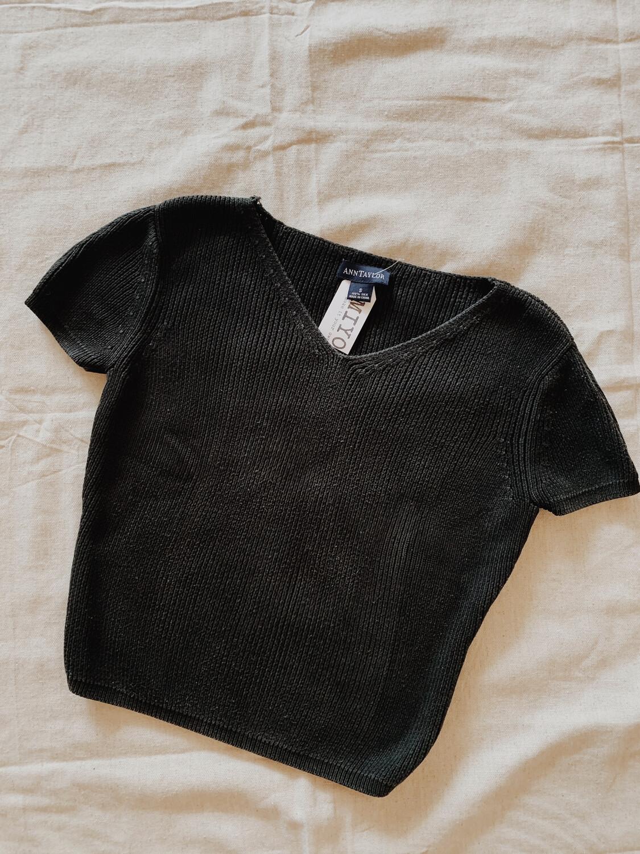 Women Ann Taylor Sm SS Silk Knit Black