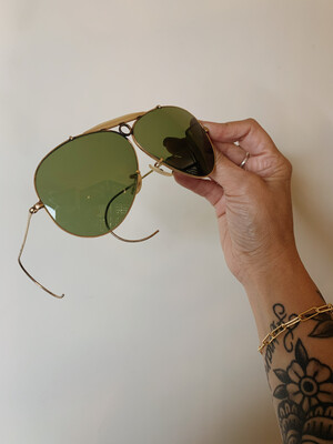 Sunglasses Ray Ban 1970 Aviator Green Lense W Case