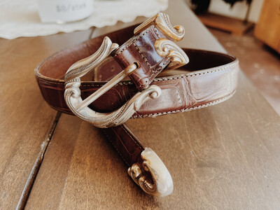 Belt Small Leather Brown Silver Buckle With Gold Embroidered Leather