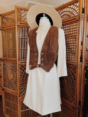 Women Vest Leather Brown Vintage