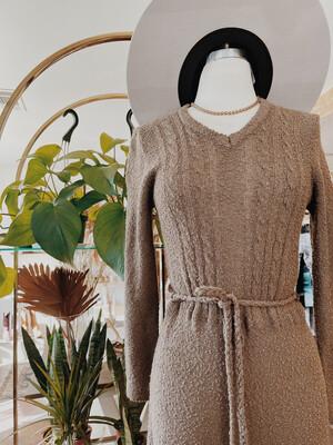 Women NL LS Knit Maxi Dress Brown
