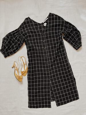 Women Ellison Med LS Maxi Dress Checker Blk Wht