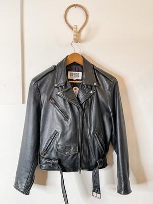 Women Firenze NS Leather Moto Vintage Jacket Black