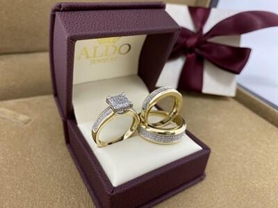 10 karat & Diamond Fancy Wedding Trio Set Rings