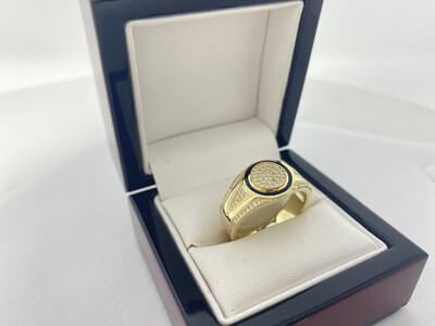 10 Karat Gold & Zirconium Black Onyx Circle Ring