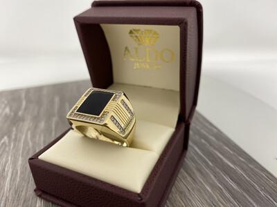 14 Karat Gold & Zirconium Onyx Square Ring