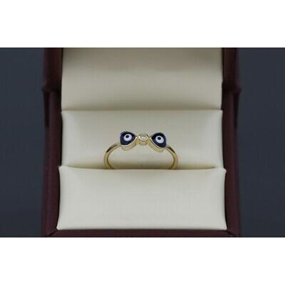 10 Karat Gold & Cz Dark Blue Double Heart Eye Ring S: 7.5 W: 1.4 ~