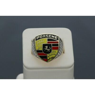 14 Karat Gold & Zirconium Porsche Style Ring