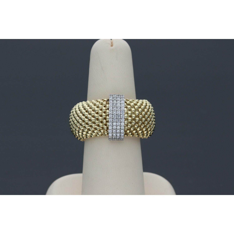 14 Karat Gold & Zirconium Line Popcorn Ring