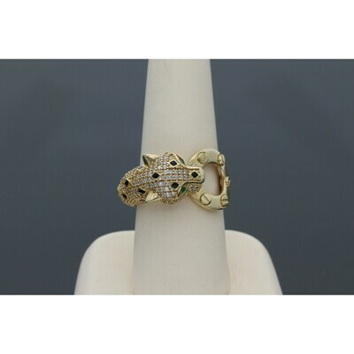 14 Karat Gold & Zirconium Jaguar Ring