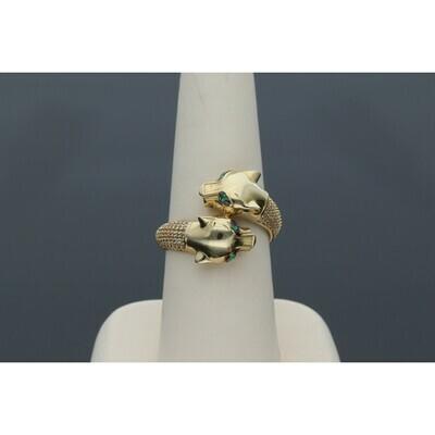 14 Karat Gold & Zirconium Two Panther Ring