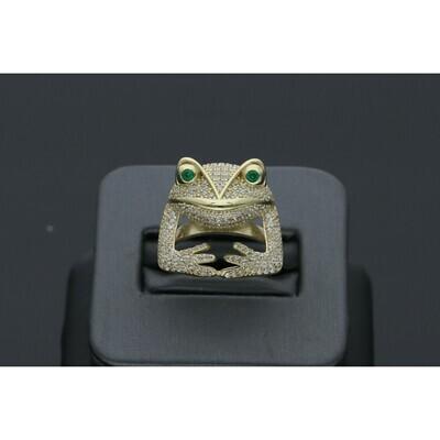 10 Karat Gold & Zirconium Frog Ring