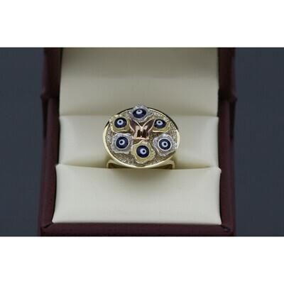 10 Karat Gold & Zirconium Three Tone Multiple Eye Butterfly Ring