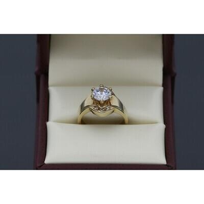 10 Karat Gold & Zirconium Princess Engagement Ring