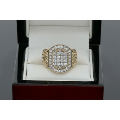 10 karat Gold & Zirconium Heart Two Swans Ring