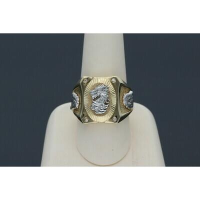 14 karat Gold & Zirconium Two Tone Dragon Ring