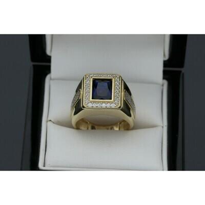 10 Karat Gold & Zirconium Blue Square Ring