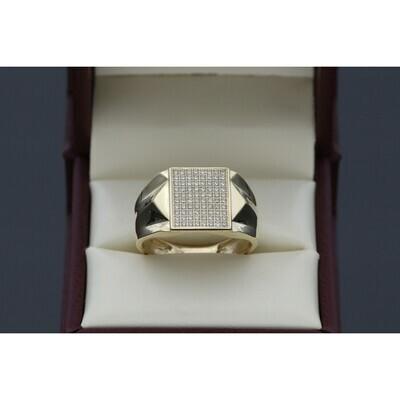10 Karat Gold & Zirconium Square Forms Ring